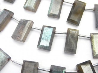 天然石卸 1連1,580円〜!ラブラドライトAA++ 横穴レクタングルカット 1連(約17cm)