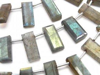 天然石卸 1連1,580円〜!ラブラドライトAA++ 横穴レクタングルカット 1連(約16cm)