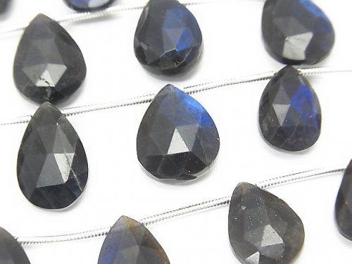 【動画】宝石質ブラックラブラドライトAA++ ペアシェイプ ブリオレットカット 1連(約16cm)の画像