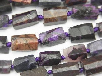 天然石卸 スギライトAA+ ラフチューブ〜タンブルカット 半連/1連(約38cm)