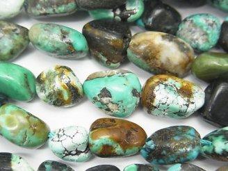 天然石卸 1連1,380円!ターコイズAA++ タンブル 【Mサイズ】 1連(約37cm)