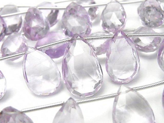 宝石質ピンクアメジストAAA' ペアシェイプ ブリオレットカット 1連(12粒)