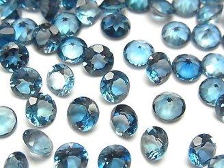 天然石卸 宝石質ロンドンブルートパーズAAA 穴なしラウンドファセットカット5×5×3mm 5粒1,280円!