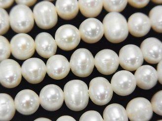 天然石卸 1連480円!淡水真珠AA ポテト7〜8mm ホワイト 1連(約34cm)