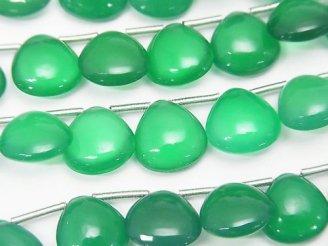 天然石卸 宝石質グリーンオニキスAAA マロン(プレーン)10×10mm 半連/1連(約17cm)