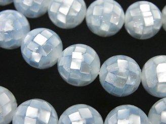 天然石卸 モザイクシェル ブルー ラウンド12mm 1/4連〜1連(約35cm)