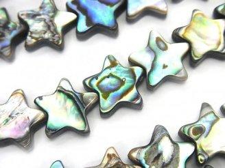 天然石卸 アバロンシェル(鮑) スター(星)12×12×3mm 半連/1連(約32cm)