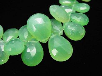 天然石卸 1点もの!宝石質クリソプレーズAA++ ペアシェイプ ブリオレットカット 1連(約19cm) NO.7