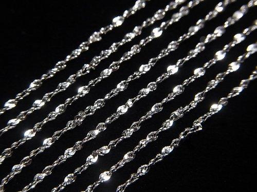 Silver925 ツイスト(S字)チェーン ネックレス 約1mm幅 ロジウム 1本340円〜!