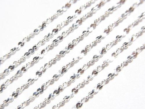 Silver925 ツイスト(S字)チェーン ネックレス 約1.2mm幅 純銀仕上げ 1本