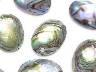 天然石卸 3粒1,380円!アバロンシェル×クリスタルAAA' オーバル型カボションカット18×13mm 3粒