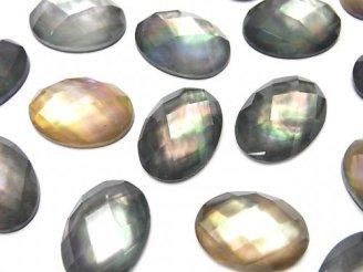 天然石卸 3粒1,380円!ブラックシェル×クリスタルAAA' オーバル型カボションカット18×13mm 3粒