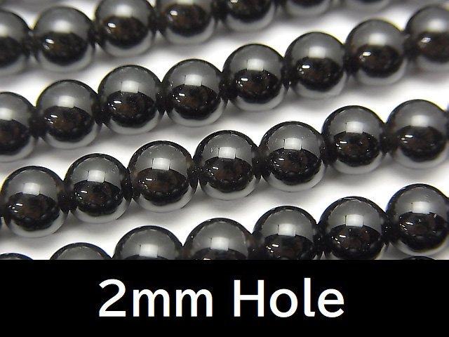 チベット産モリオン(黒水晶)AAA ラウンド6mm 【2mm穴】 1連(約37cm)