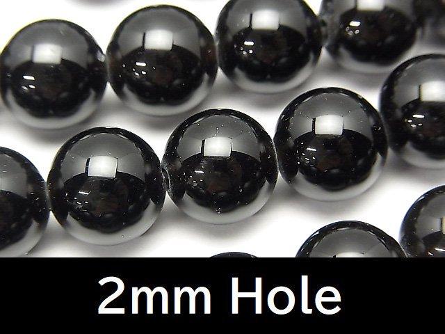 チベット産モリオン(黒水晶)AAA ラウンド12mm 【2mm穴】 半連/1連(約37cm)