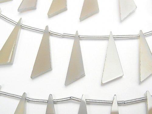 【動画】宝石質グレーオニキスAAA フラット トライアングル20×6×3mm 1連(8粒)