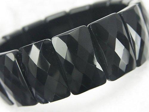 ブラックオブシディアンAAA- 2つ穴レクタングルカット20×12×7mm 1連(ブレス)