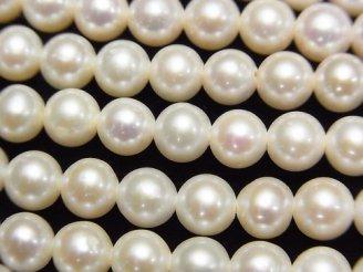 天然石卸 1連2,980円!淡水真珠AAA- ラウンド〜セミラウンド6mm ホワイト 【1mm穴】 1連(約36cm)