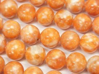 天然石卸 オレンジカルサイトAA+ ラウンド10mm 半連/1連(約38cm)