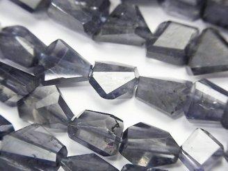 天然石卸 宝石質アイオライトAA++ タンブルカット 半連/1連(約40cm)