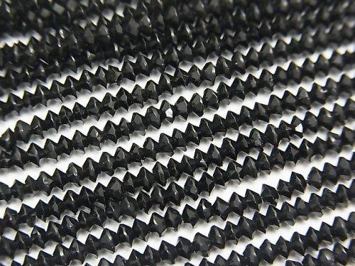 ブラックトルマリンAAA- ソロバン ラウンドカット3×3×1.5mm 1連(約38cm)
