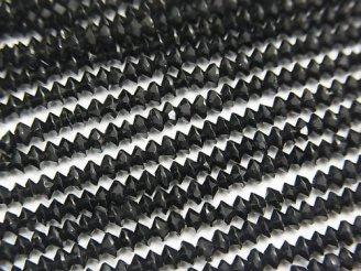 天然石卸 1連780円!ブラックトルマリンAAA- ボタンカット3×3×1.5mm 1連(約38cm)