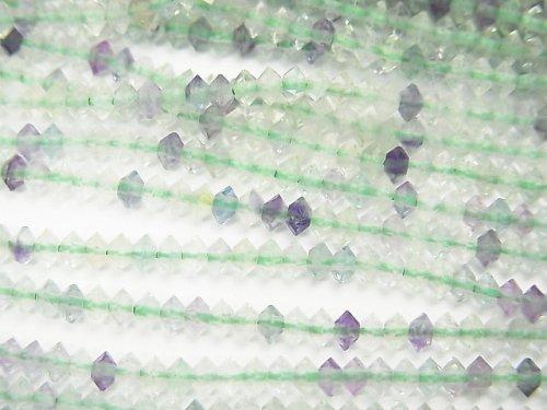 マルチカラーフローライト ソロバン ラウンドカット3×3×1.5mm 1連(約37cm)