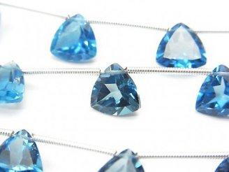 天然石卸 宝石質ロンドンブルートパーズAAA トライアングル ファセットカット9×9mm 半連/1連(10粒)