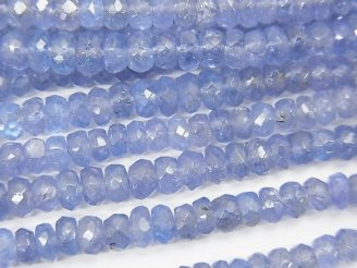 天然石卸 宝石質タンザナイトAAA- ボタンカット 半連/1連(約38cm)