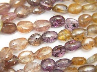 天然石卸 宝石質マルチカラーサファイアAA++ オーバル〜タンブル 半連/1連(約42cm)