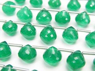 天然石卸 極上カット!宝石質グリーンオニキスAAA オニオン ブリオレットカット 半連/1連(約17cm)