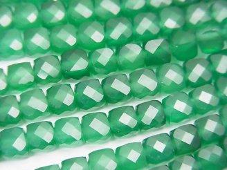 天然石卸 素晴らしい輝き!1連1,380円!グリーンオニキス キューブカット5×5×5mm 1連(約37cm)