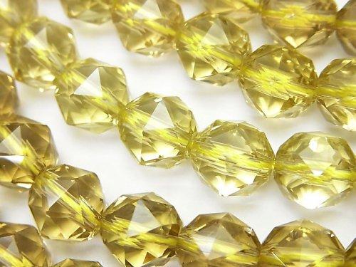 【素晴らしい輝き】宝石質レモンクォーツAAA スターラウンドカット10mm 1/4連〜1連(約38cm)