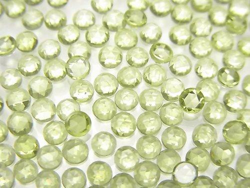 宝石質ペリドットAAA ラウンド ローズカット3×3mm 10個