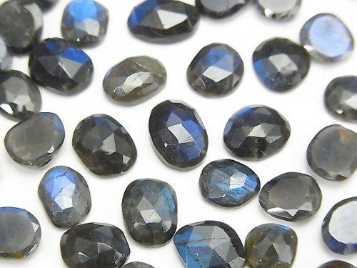 宝石質ブラックラブラドライトAAA 穴なし フリーフォーム 片面ローズカット 5粒