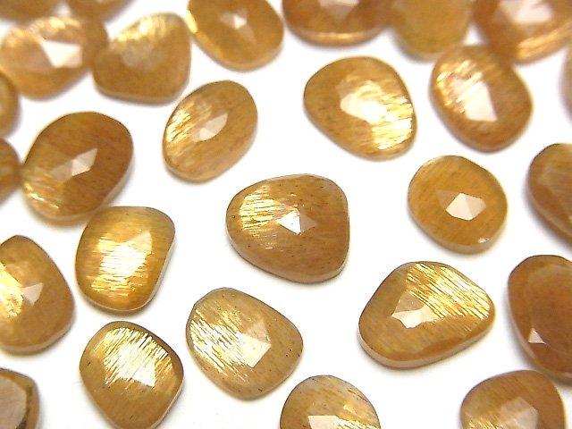 【動画】宝石質ゴールデンシャインムーンストーンAAA- 穴なし フリーフォーム 片面ローズカット 10個
