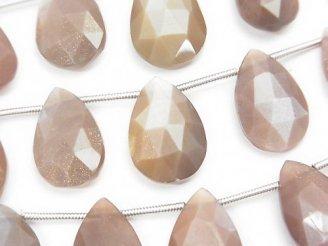 天然石卸 1連1,780円!宝石質ブラウンムーンストーンAAA ペアシェイプ ブリオレットカット 1連(約16cm)