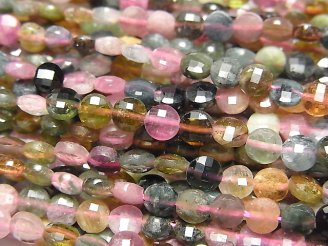 天然石卸 素晴らしい輝き!1連1,180円!マルチカラートルマリンAA++ コインカット4.5×4.5×2.5mm 1連(約37cm)