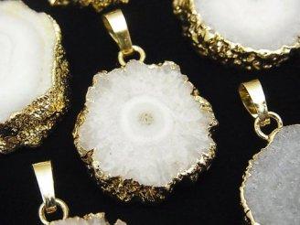 天然石卸 選択可能!インド産ソーラークォーツ(スタラクタイト) スライスタンブル ペンダントトップ ゴールドカラー 1個780円〜!