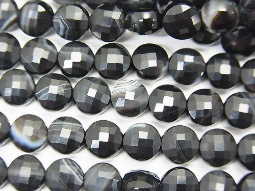 【素晴らしい輝き】ストライプオニキス コインカット6×6×4mm 1連(約37cm)