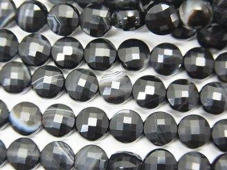 天然石卸 素晴らしい輝き!1連680円!ストライプオニキス コインカット6×6×4mm 1連(約37cm)