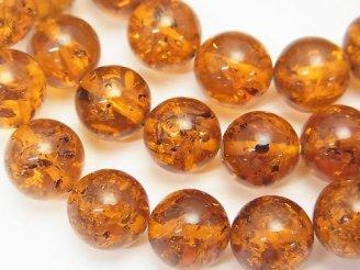 天然石卸 1連3,980円!バルティックアンバー(琥珀) ラウンド9〜10mm ブラウンカラー 1連(ブレス)