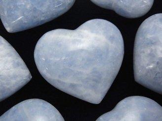 天然石卸 1個980円!マダガスカル産ブルーカルサイトAA+ 特大穴なしハート 1個