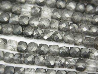 天然石卸 素晴らしい輝き!1連1,680円!トルマリンクォーツAA++ キューブカット4×4×4mm 1連(約37cm)