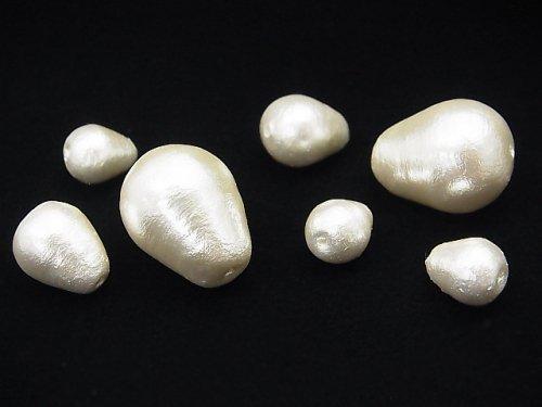 日本製コットンパール ホワイト ドロップ20×15mm 4粒