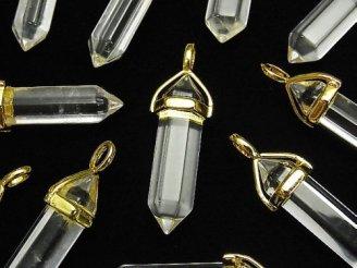天然石卸 3個480円!クリスタルAA+ ダブルポイント ペンダントトップ ゴールドカラー 3個