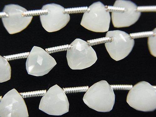宝石質ホワイトムーンストーンAAA 立体トライアングルカット 半連/1連(約18cm)