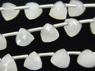 天然石卸 宝石質ホワイトムーンストーンAAA 立体トライアングルカット 半連/1連(約18cm)