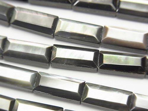 高品質ブラックシェル(黒蝶貝)AAA レクタングルカット13×6mm 半連/1連(約37cm)