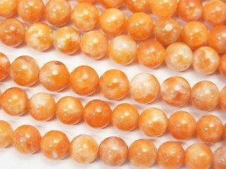 天然石卸 1連980円!オレンジカルサイトAA+ ラウンド6mm 1連(約38cm)