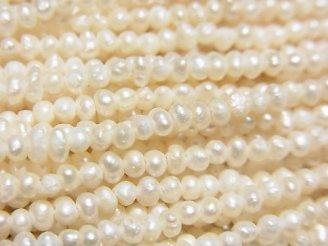 天然石卸 1連980円!淡水真珠AA++ ホワイト ポテト2.5mm 1連(約38cm)
